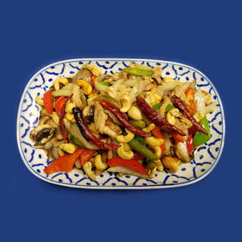 Chicken, with roasted cashew nuts, dried chiki, mushrooms and sweet bell peppers.