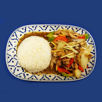 chicken, pork or beef with fresh ginger, mushrooms and sweet bell peppers