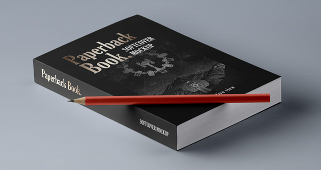 Paperback Book with Pencil Mockup