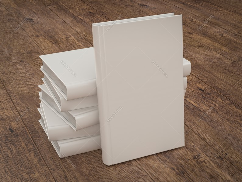 Stacked Empty White Books on a Wooden Table Mockup