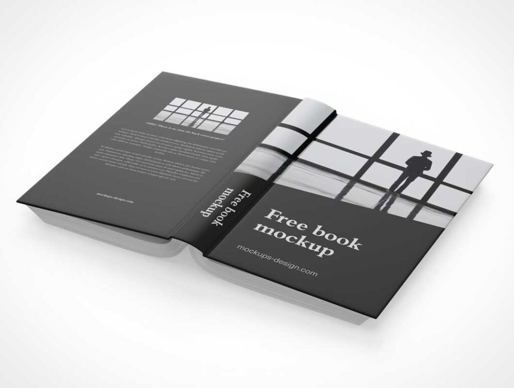 Back, Spine and Front Hardcover Book Mockup