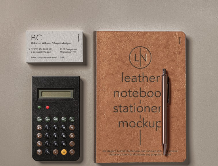 Leather Notebook with Calculator and Business Card