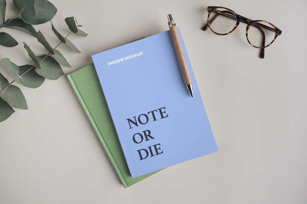 Notebooks with Pen and Eyeglasses Mockup