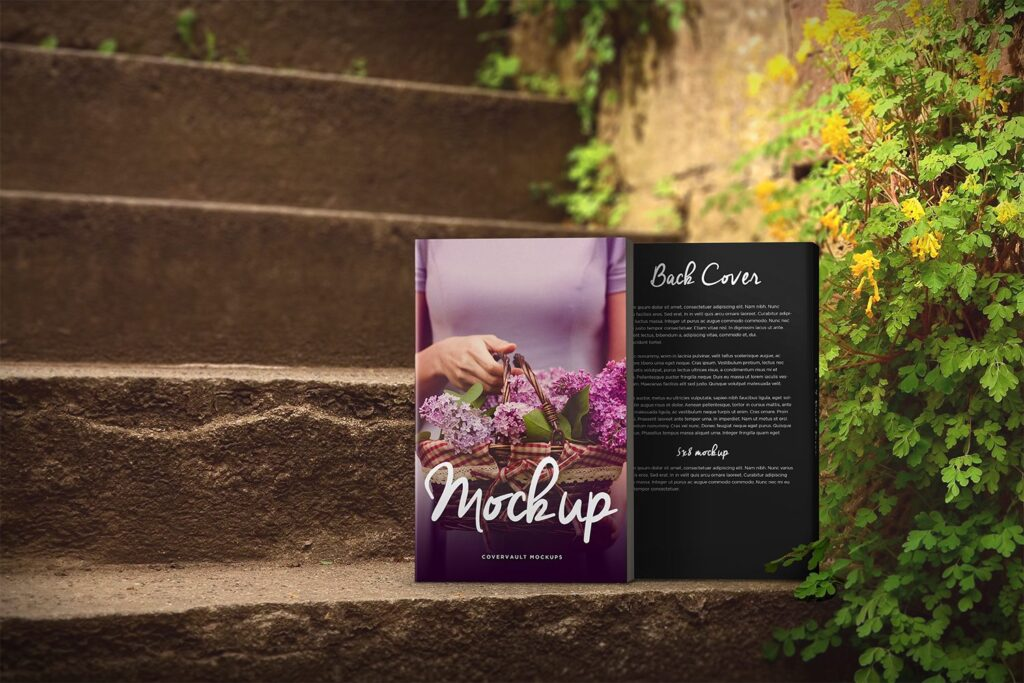 Front and Back Cover Book in Stairs Mockup