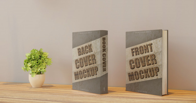 Front and Back Cover Book Mockup on Wall Desk