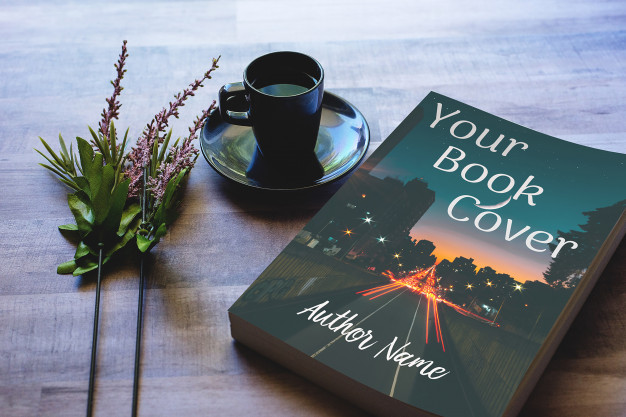 Thick Coffee Table Book with Flowers Mockup