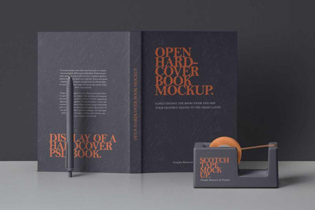 Open Hardbook Back, Spine and Front Cover Mockup