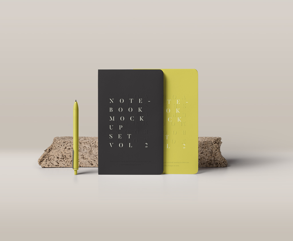 Standing Hardcover Notebooks with Pen Mockup