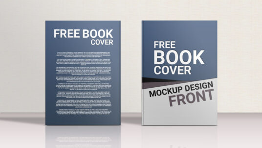 Standing Front and Back Hardcover Book Mockup
