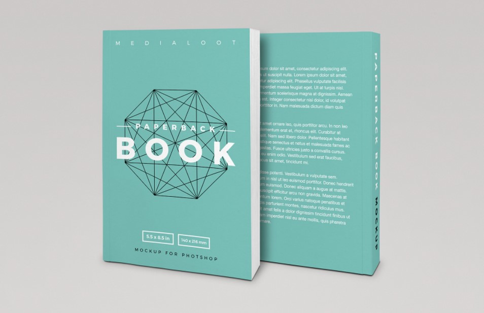 Front and Back Cover Paperback Book Mockup