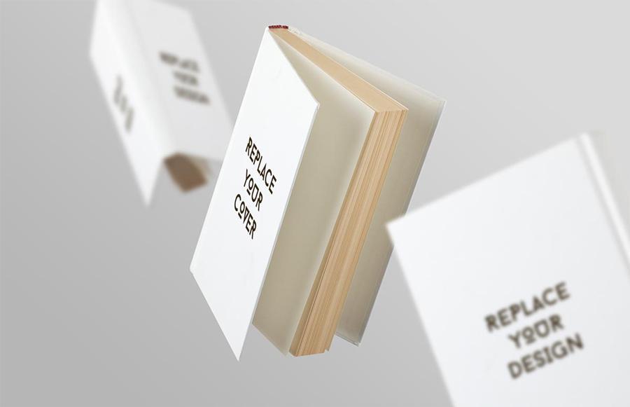 Floating White Book Mockup