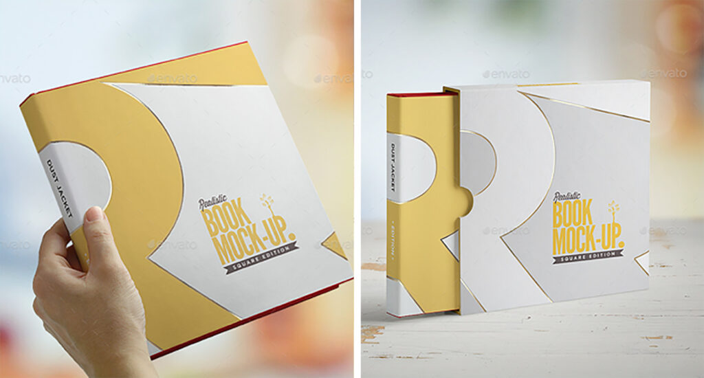 Square Book with Dust Jacket Mockup