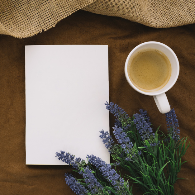 Book and Coffee with Flowers