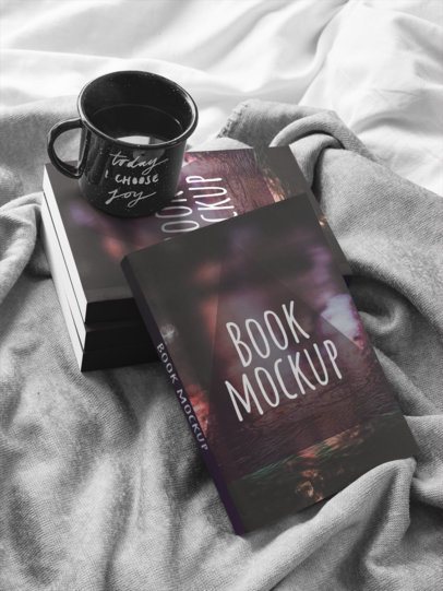 Books and Coffee on a Bed