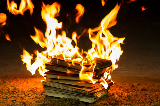 Stack of Books on Fire