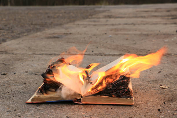 Book with Pages on Fire