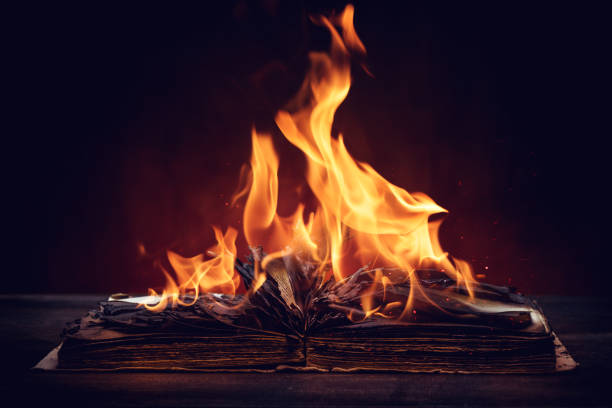Close Up on an Old Book on Fire