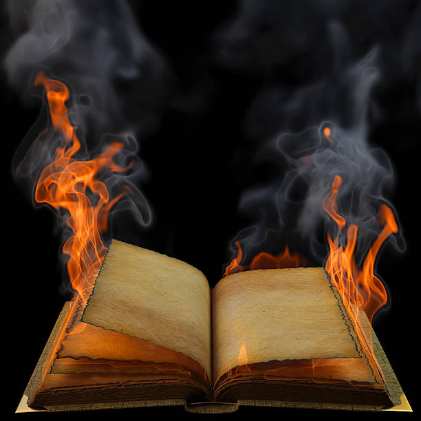 Blank Book on Fire