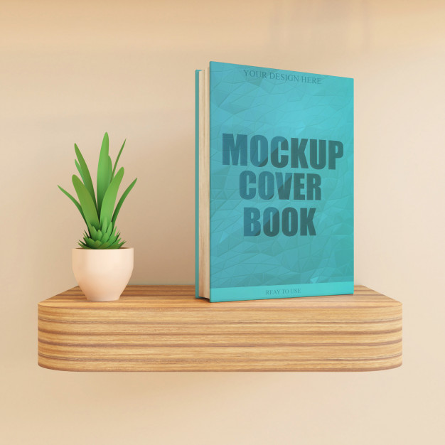 Standing Book on Shelf with Plant