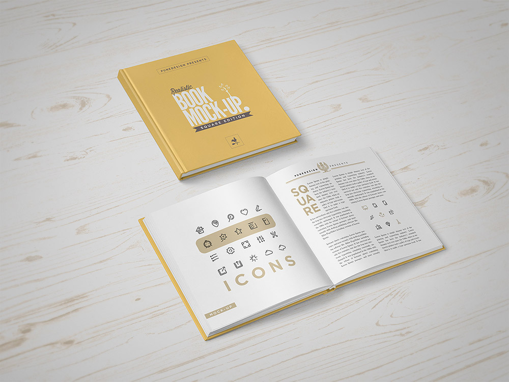 Square Book on Table