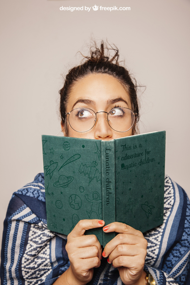 Girl with Eyeglasses Holding Book