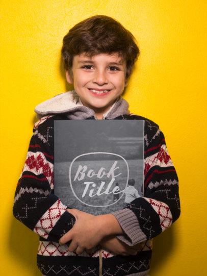 Happy Boy Holding a Big Book