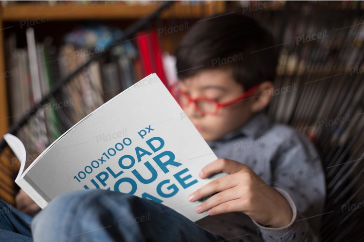 Kid Reading a Square Book