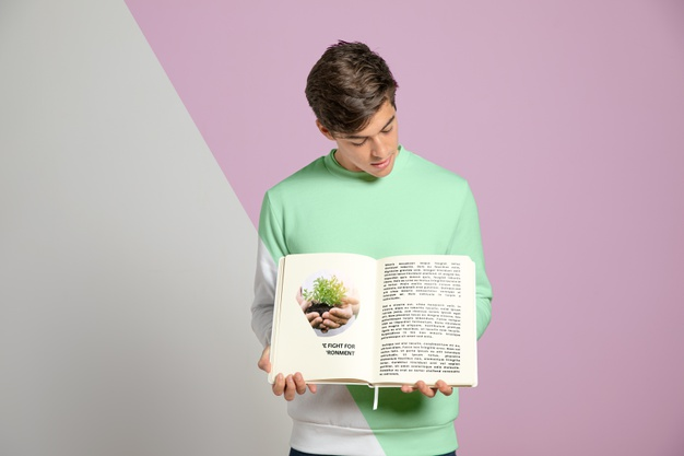 Front View of a Man Holding Book