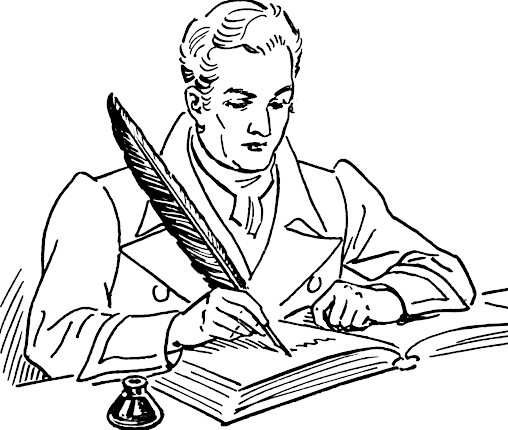 Black and White Author Clipart