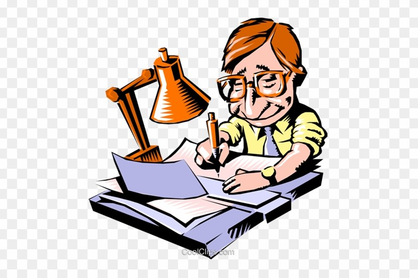 An Author Clipart of Man Doing Paper Works
