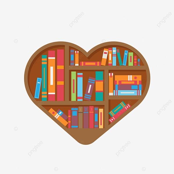 Heart Shape Bookshelf Clipart