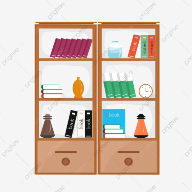 Bookshelf With Drawers Clipart