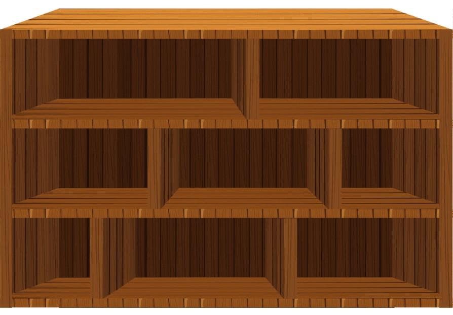 Empty Wooden Bookshelf Clipart