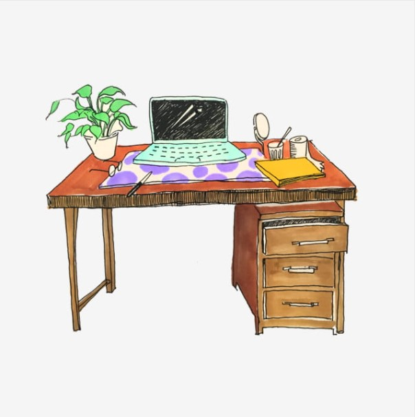 Hand Painted Desk Clipart
