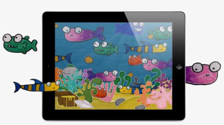 Squiggle Fish on iPad Clipart