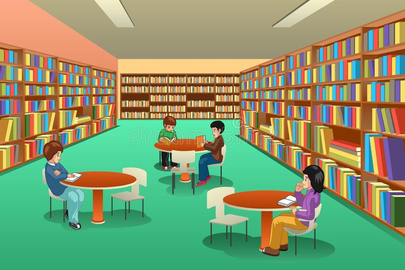 Kids Studying at the Library Clipart