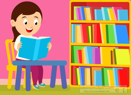Clipart of A Girl Student Reading Book At The Library