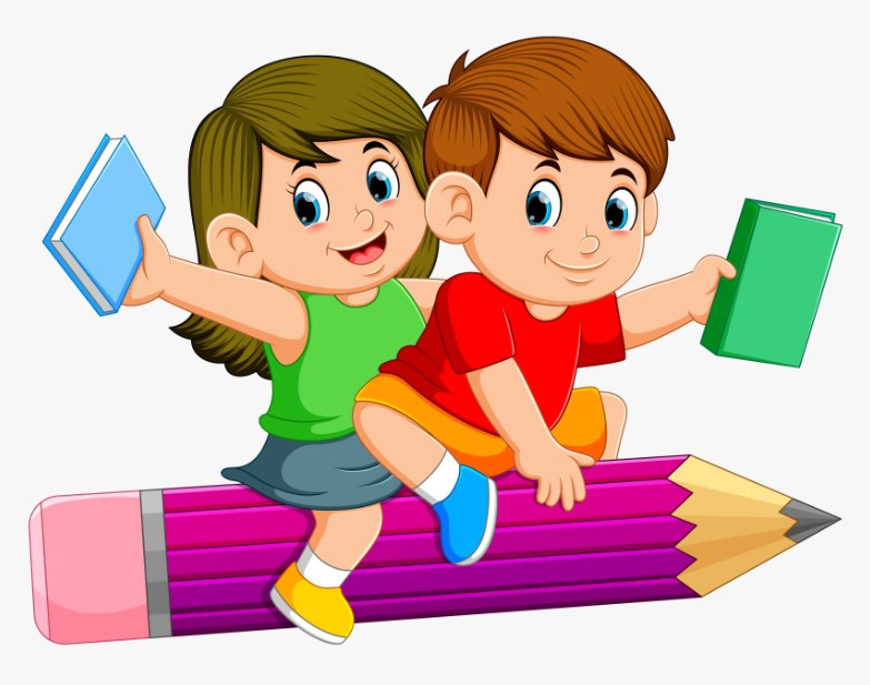 Kids Riding On A Pencil Clipart