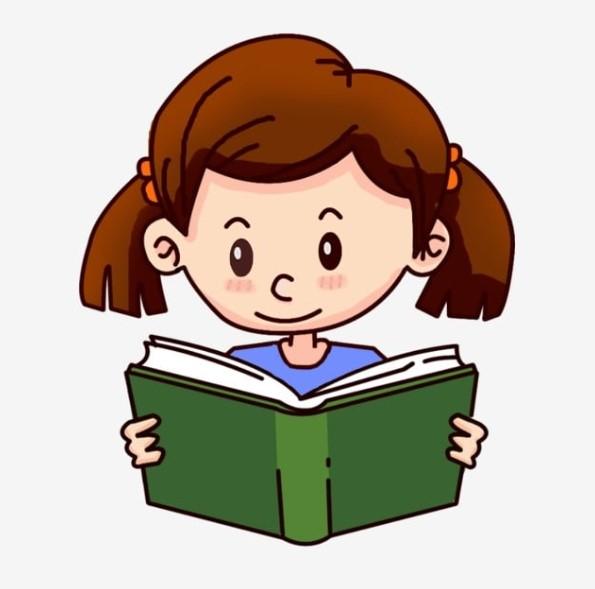 Girl Reading a Book Clipart