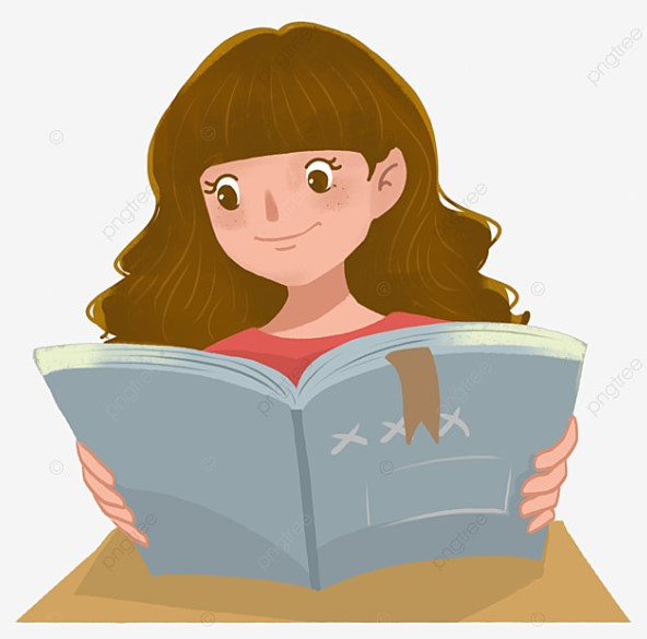 A Girl Seriously Reading Book Clipart