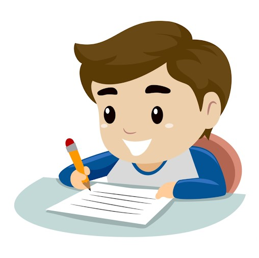 Clipart of A Boy Happily Writing