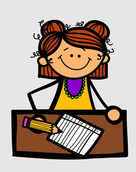 A Girl Student Writing Clipart