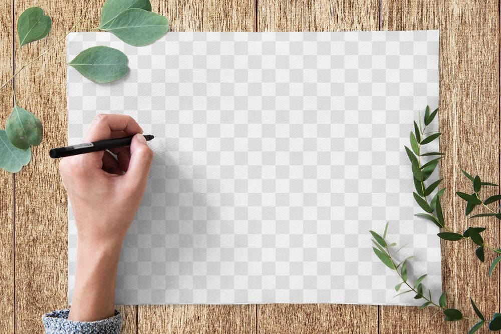 Hand Writing On Blank Paper PNG Mockup
