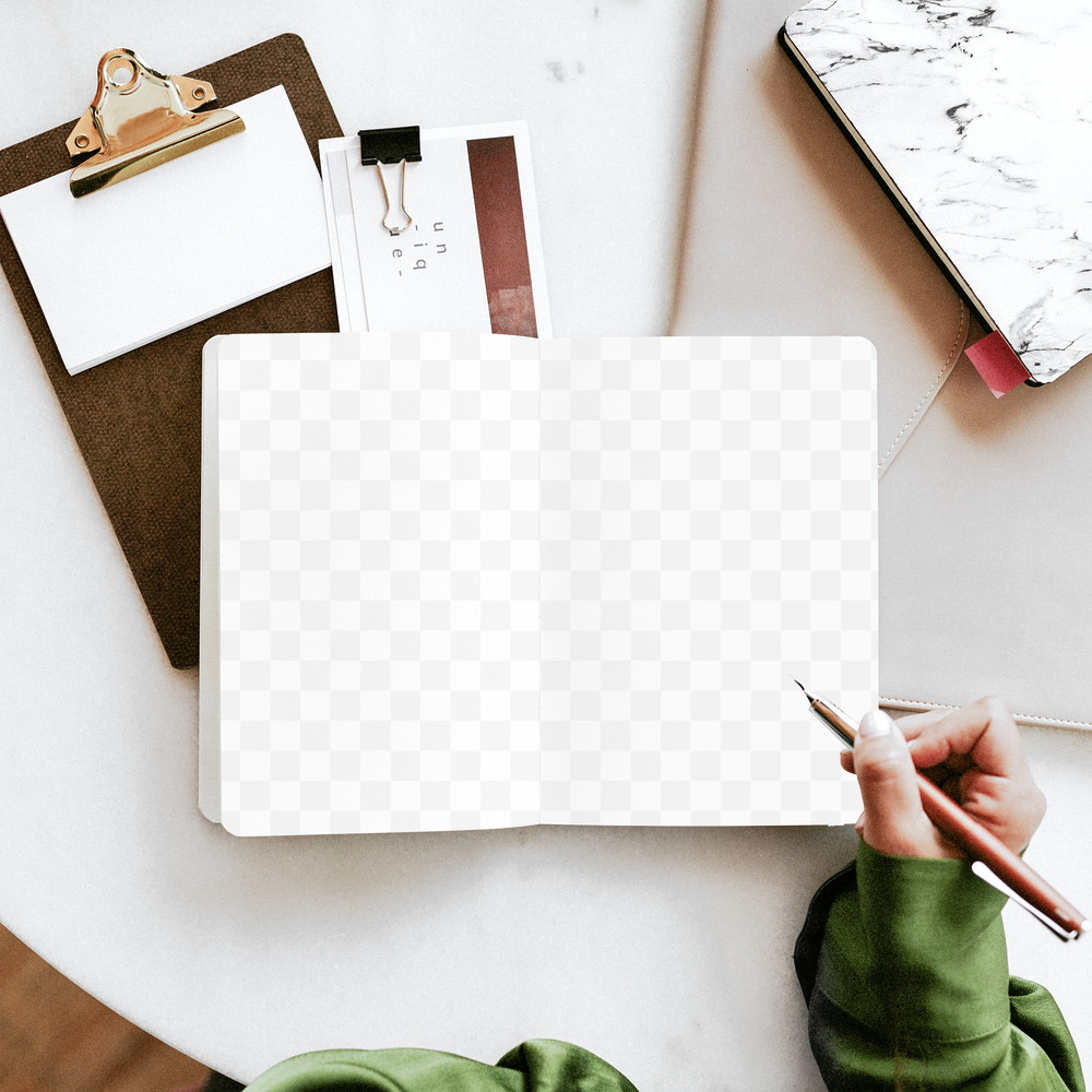 Woman Writing On Journal Mockup PNG