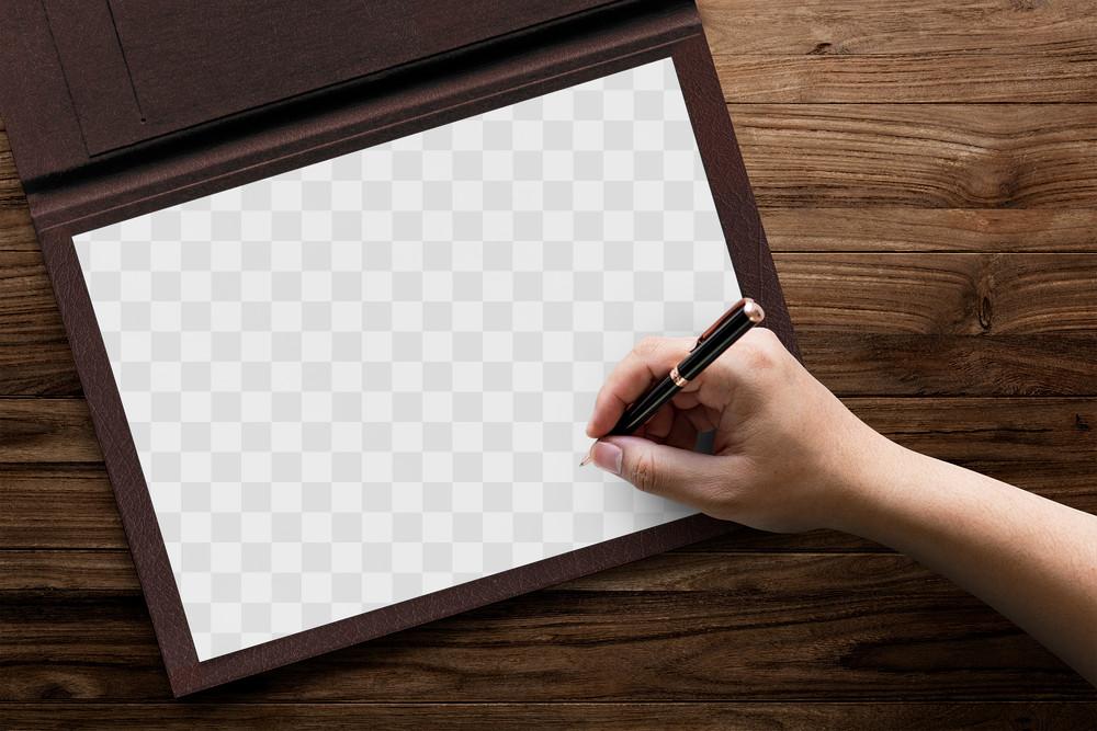 Hand Writing on Blank Document Mockup