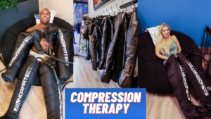 Body Builder uses Normatec Compression Therapy in Overland Park for Muscle Recovery