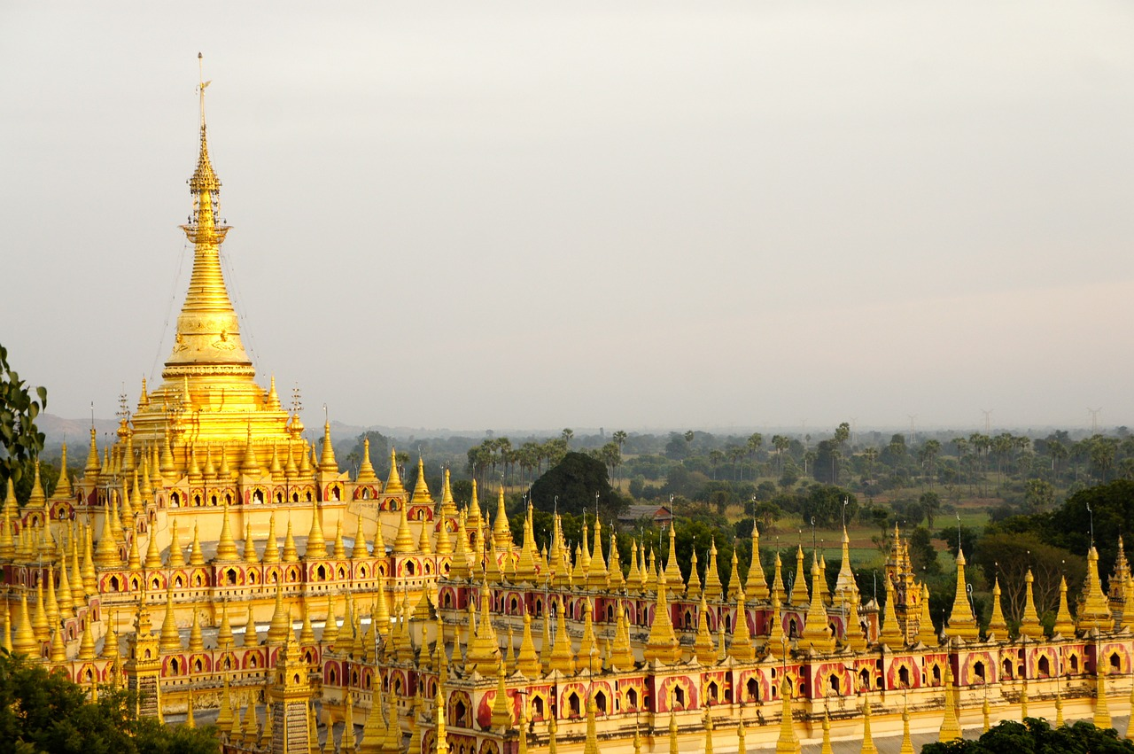 temple, gold, asia