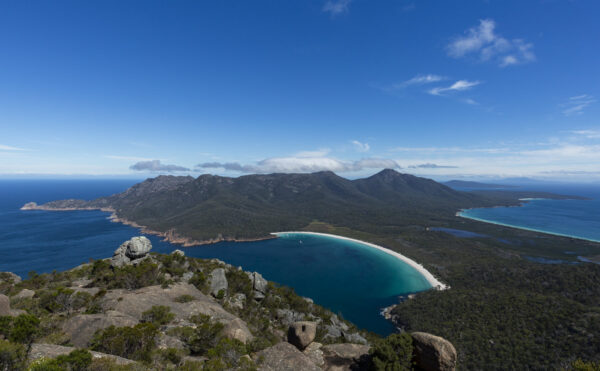 This image of the Freycinet Peninsula and Wineglass Bay was taken from Mt Amos in the Freycinet National Park on the east coast of Tasmania in Australia.