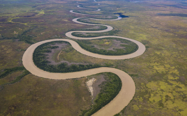 This image is of the impressive and winding Adelaide River in the Top End of the Northern Territory from a light aircraft.