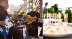 Two images of a band playing music and some plated food